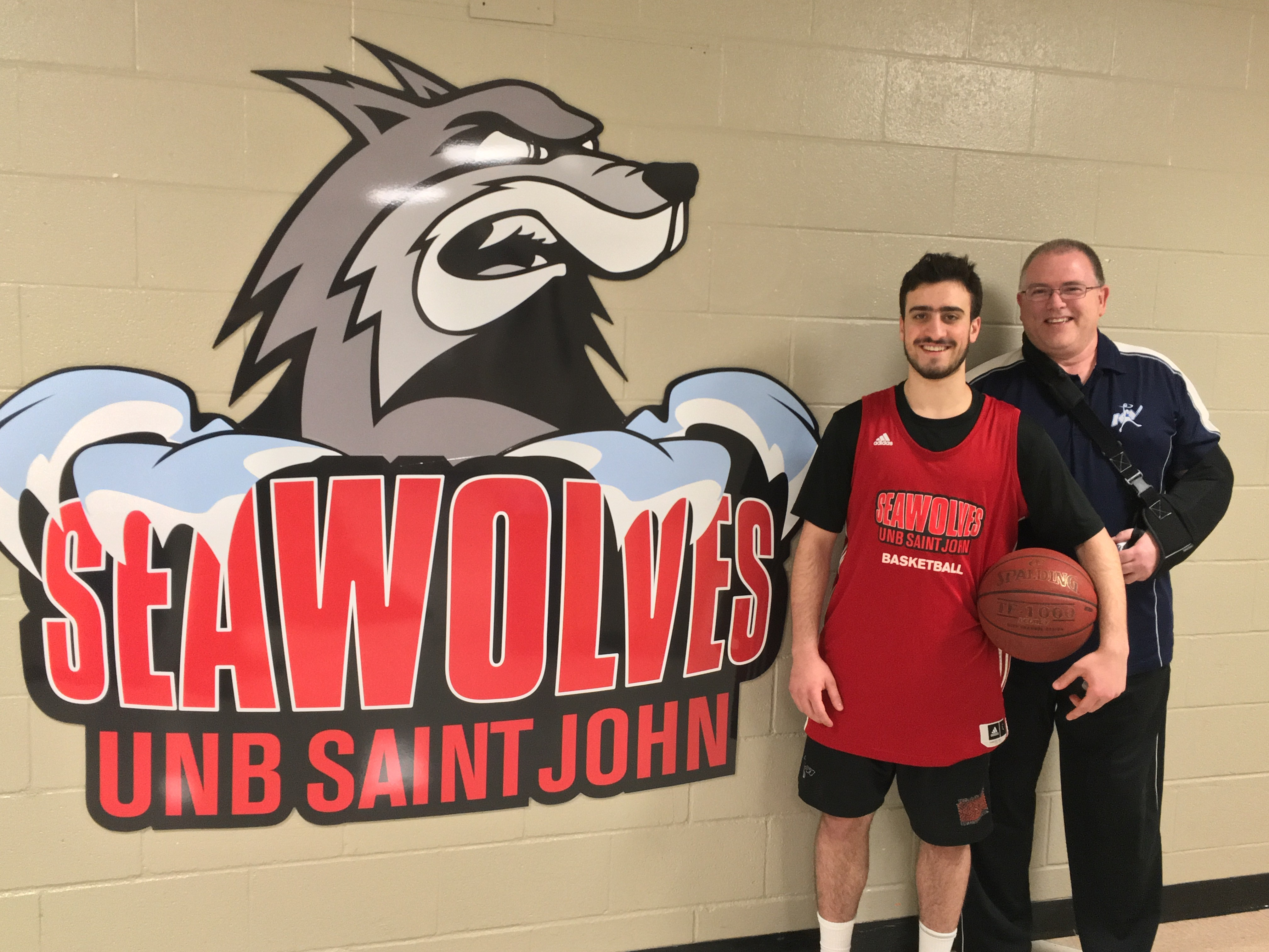 Coach, Peter Vincent (right) and second year guard, Paul Gerges (left) will head to Halifax with the team this weekend to compete in the ACAA men's basketball playoffs. Photo credit: Anthony Enman/The Baron