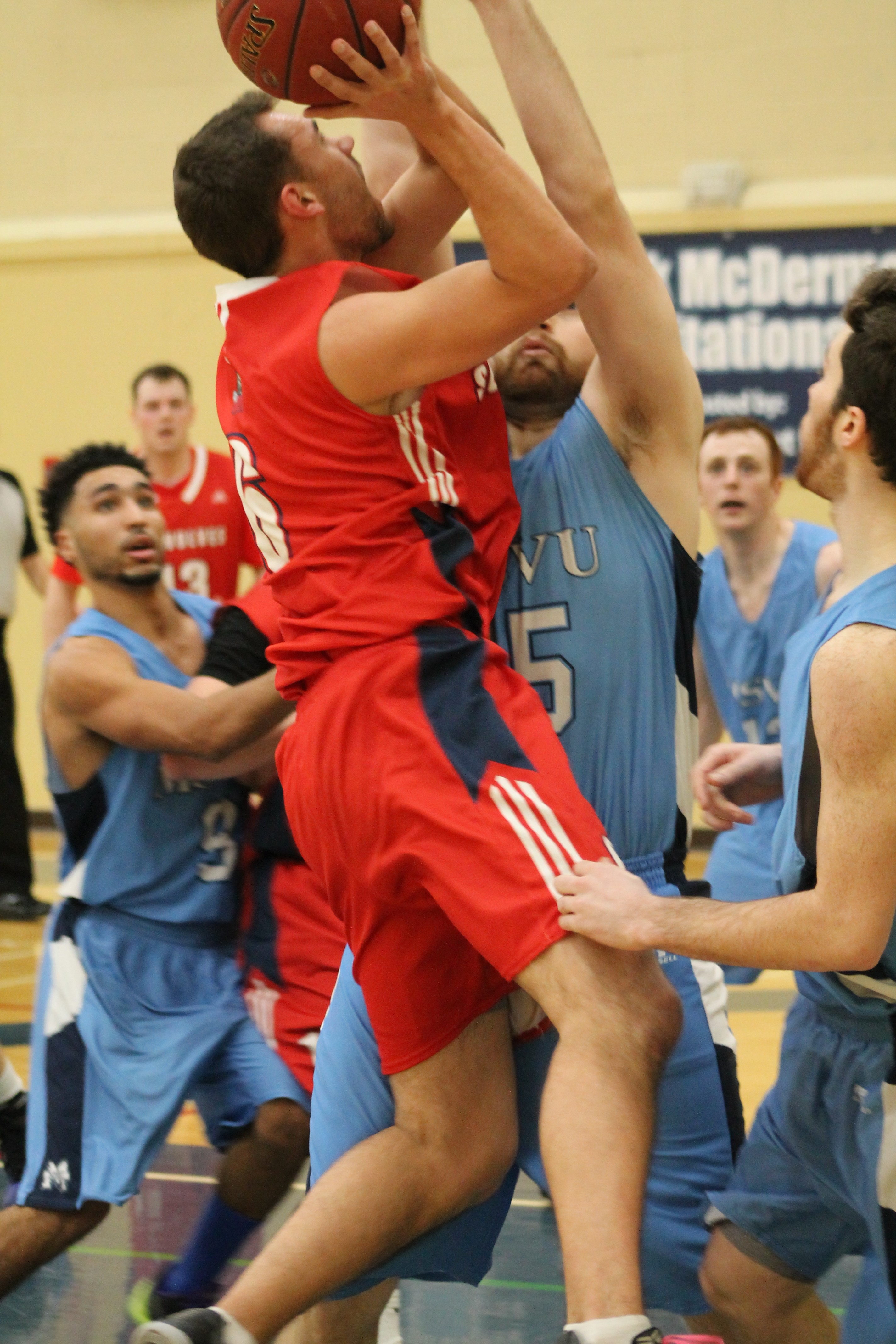 Nick Huggard pulls up for a shot against a tight Mystic defence.